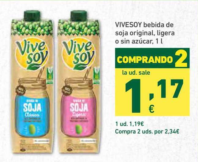 HiperDino Vivesoy Bebida De Soja Original Ligera O Sin Azúcar