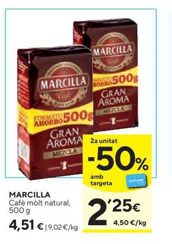 Caprabo 2ª Unitat -50% Amb Targeta Marcilla Cafè Mòlt Natural, 500 G