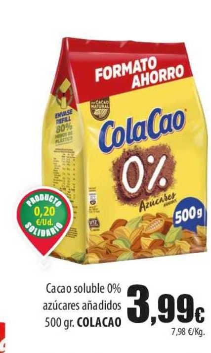 Spar Lanzarote Cacao Soluble 0% Azúcares Añadidos 500 Gr. Colacao