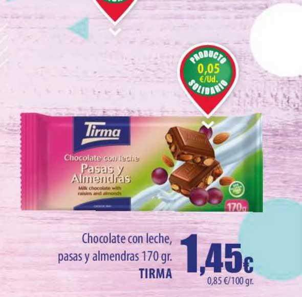 Spar Lanzarote Chocolate Con Leche Pasas Y Almendras 170 Gr. Tirma