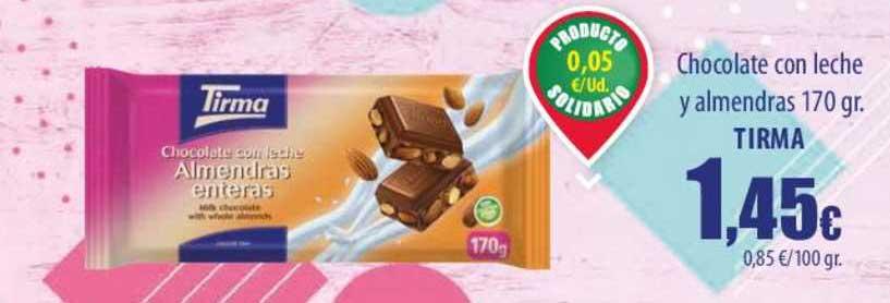 Spar Lanzarote Chocolate Con Leche Y Almendras 170 Gr. Tirma