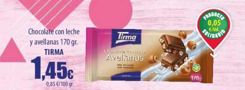 Spar Lanzarote Chocolate Con Leche Y Avellanas 170 Gr. Tirma