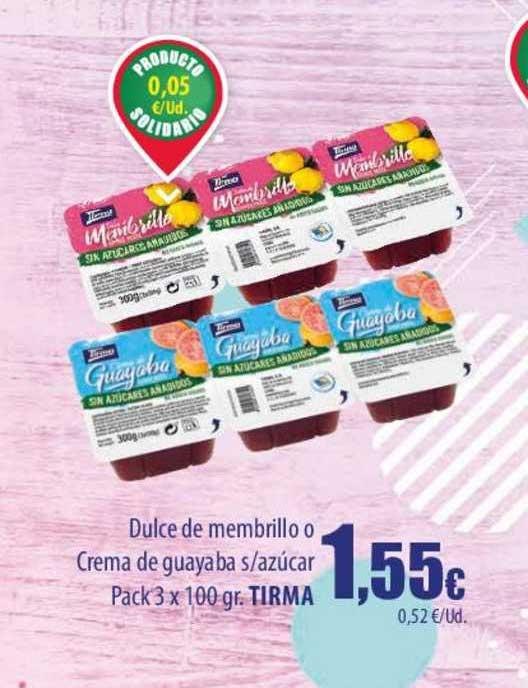 Spar Lanzarote Dulce De Membrillo O Crema De Guayaba S Azúcar Pck 3 X 100 Gr. Tirma