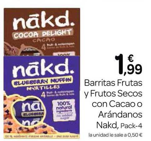 Supermercados El Jamón Barritas Frutas Y Frutos Secos Con Cacao O Arándanos Nakd, Pack 4