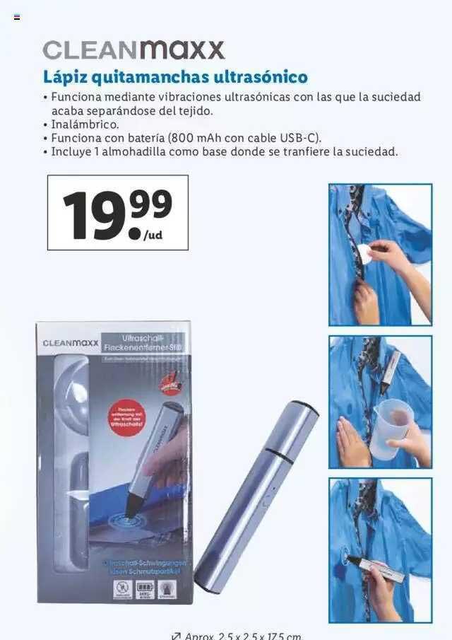 LIDL Cleanmaxx Lápiz Quitamanchas Ultrasónico