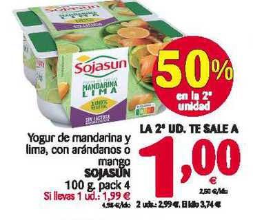 Alimerka Yogur De Mandarina Y Lima, Con Arándanos O Mango Sojasun