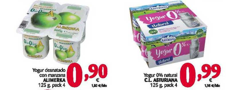 Alimerka Yogur Desnatado Con Manzana Alimerka O Yogur 0%atural Cl Asturiana