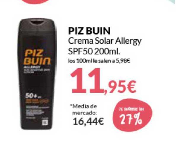 Primaprix Piz Buin Crema Solar Allergy SPF50 200ml.