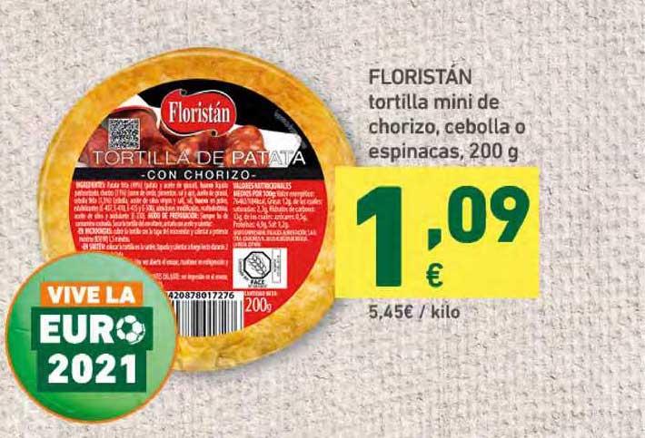 HiperDino Floristán Tortilla Mini De Chorizo , Ceboll O Espinacas , 200g