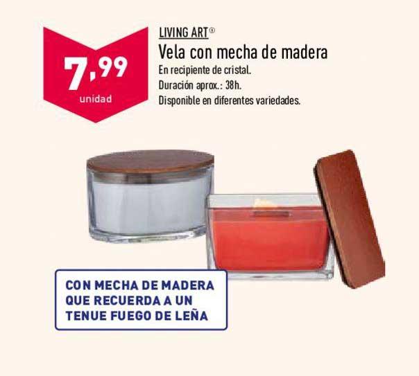 ALDI Living Art Vela Con Mecha De Madera