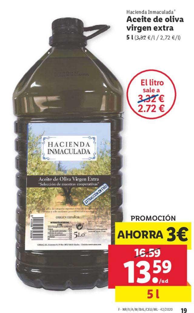 LIDL Promoción Ahorra 3€ Hacienda Inmaculada Aceite De Oliva Virgen Extra