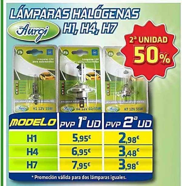 Aurgi 2ª Unidad 50% Lámparas Halógenas H1, H4, H7