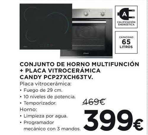 Hipercor Conjunto De Horno Multifunción + Placa Vitrocerámica Candy Pcp27xch63tv