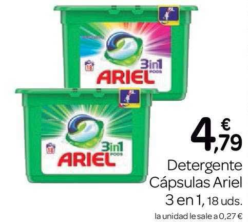 Supermercados El Jamón Detergente Cápsulas Ariel 3 En 1, 18 Uds.