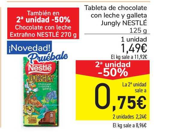 Carrefour 2ª Unidad -50% Tableta De Chocolate Con Leche Y Galleta Jungly Nestlé 125g