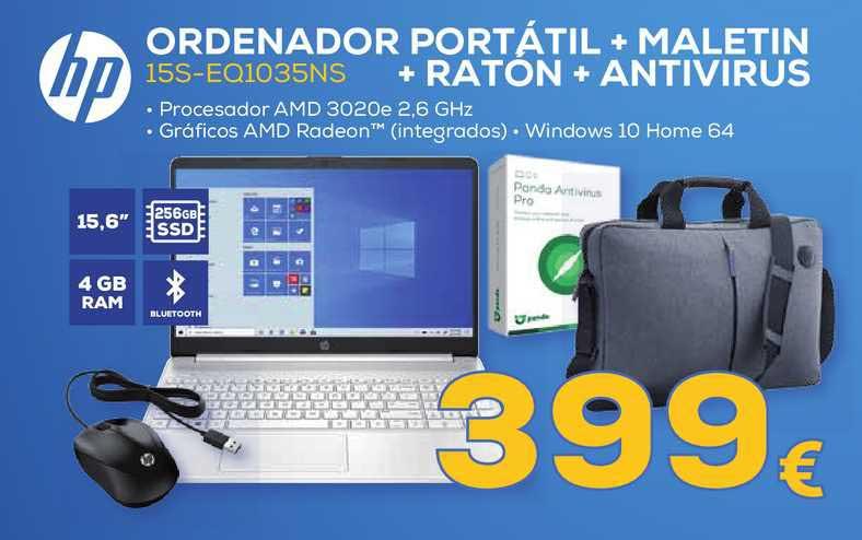 Euronics Hp Ordenador Portátil + Maletin + Raton + Antivirus 15s-eq1035ns