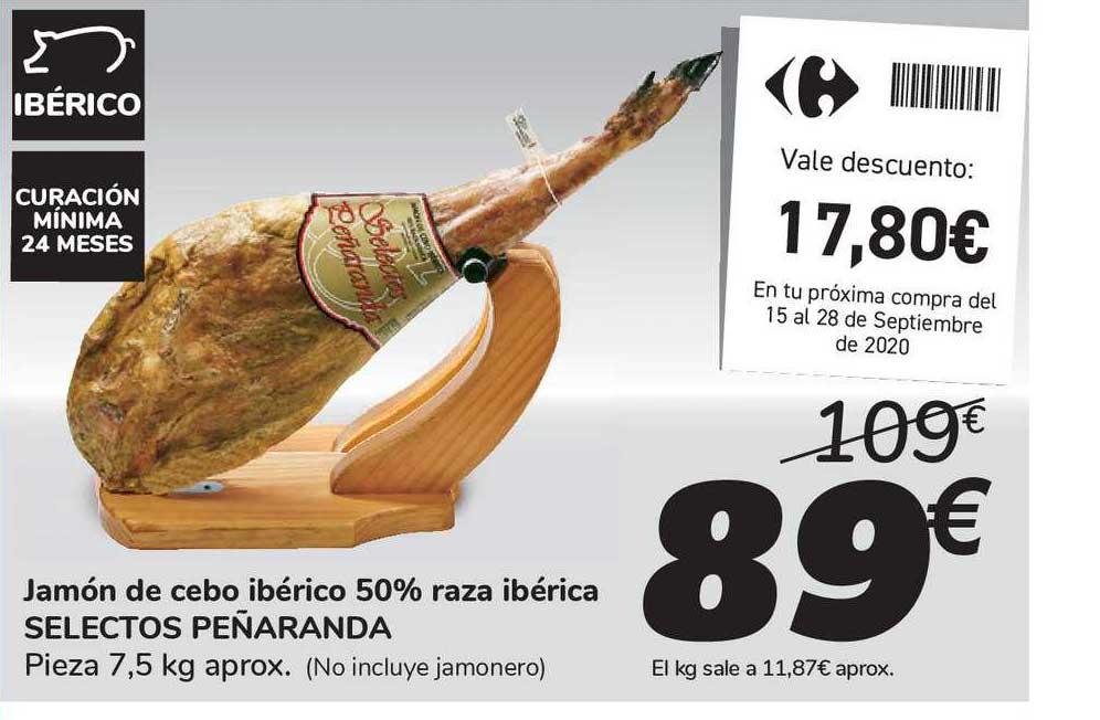 Carrefour Market Jamón De Cebo Ibérico 50% Raza Ibérica Selectos Peñaranda