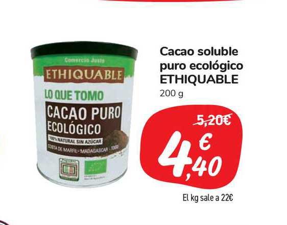 Carrefour Market Cacao Soluble Puro Ecológico Ethiquable