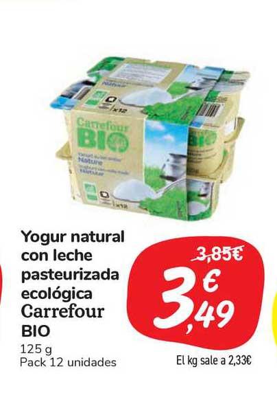 Carrefour Market Yogur Natural Con Leche Pasteurizada Ecológica