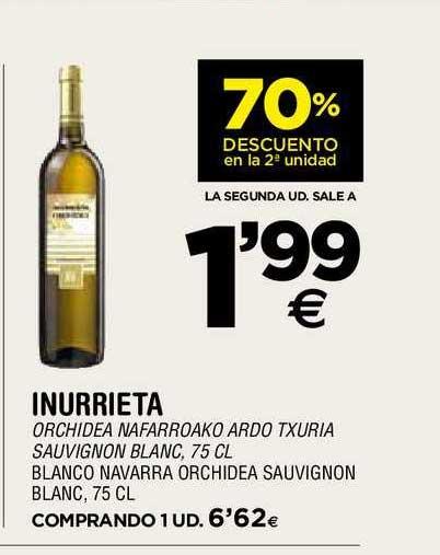 BM Supermercados 70% De Descuento En La 2ª Unidad Inurrieta Blanco Navarra Orchidea Sauvignon Blanc, 75 Cl