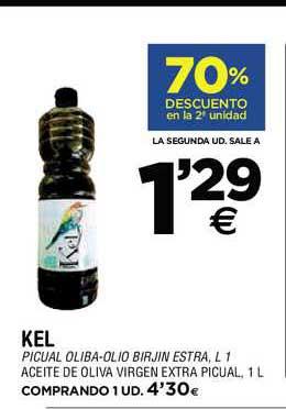 BM Supermercados 70% Descuento En La 2ª Unidad Kel Aceite De Oliva Virgen Extra Picual, 1l