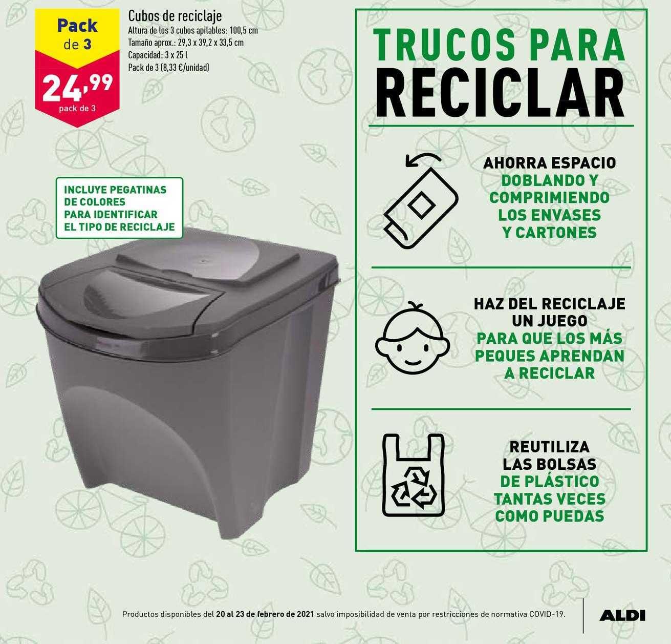 ALDI Pack De 3 Cubos De Reciclaje