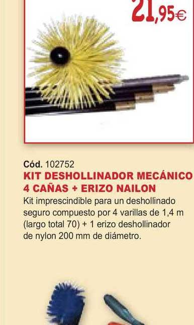 Ferrcash Kit Deshollinador Mecánico 4 Cañas + Erizoi Nailon