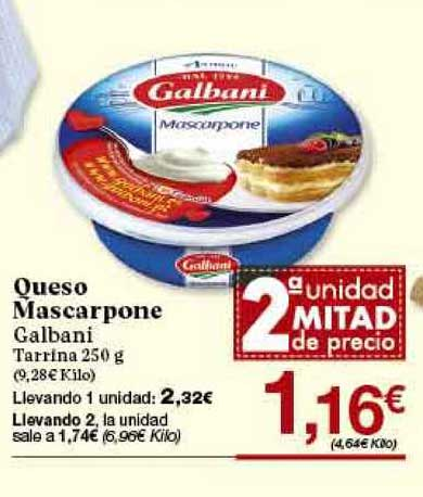 Gadis 2ª Unidad Mitad De Precio 1,16€ Queso Mascarpone Galbani Tarrina 250 G