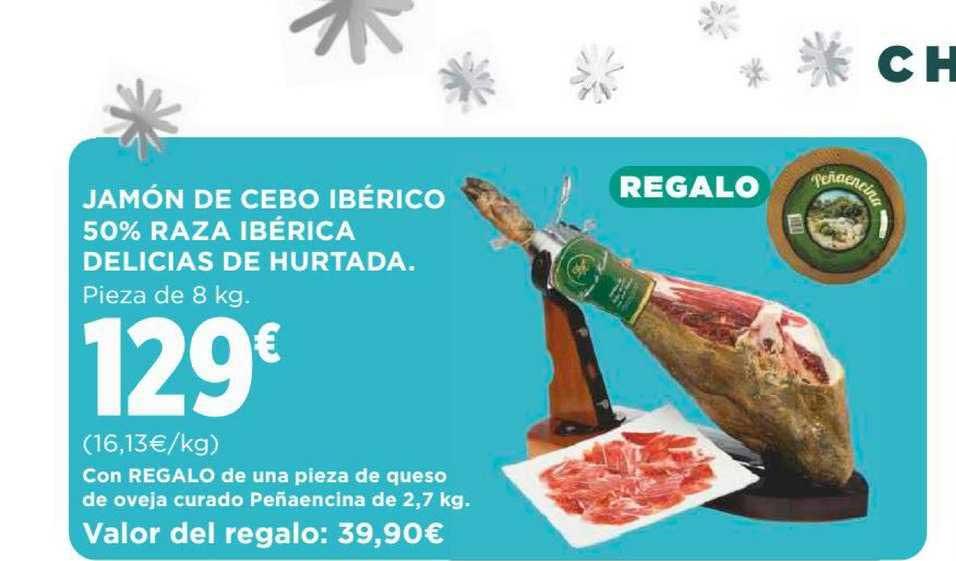 Supercor Jamón De Cebo Ibérico 50% Raza Ibérica Delicias De Hurtada Con Regalo De Una Pieza De Queso De Oveja Curado Peñaencina De 2,7 Kg