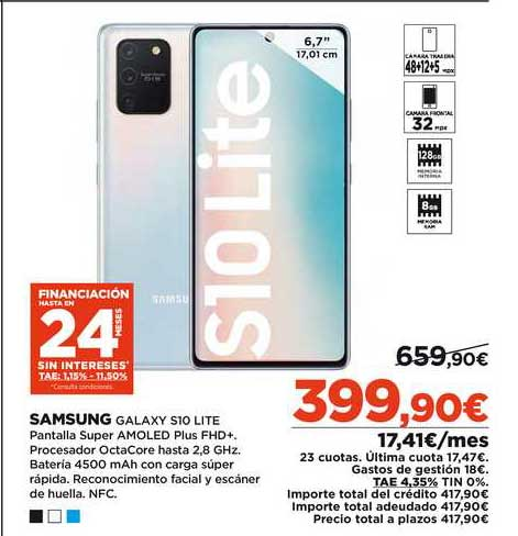 Oferta Samsung Galaxy S10 Lite En El Corte Ingles
