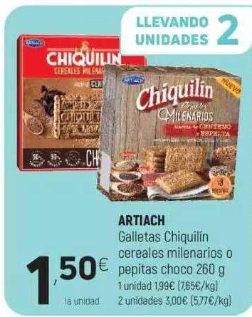 Coviran Artiach Galletas Chiquilín Cereales Milenarios O Pepitas Choco 260 G