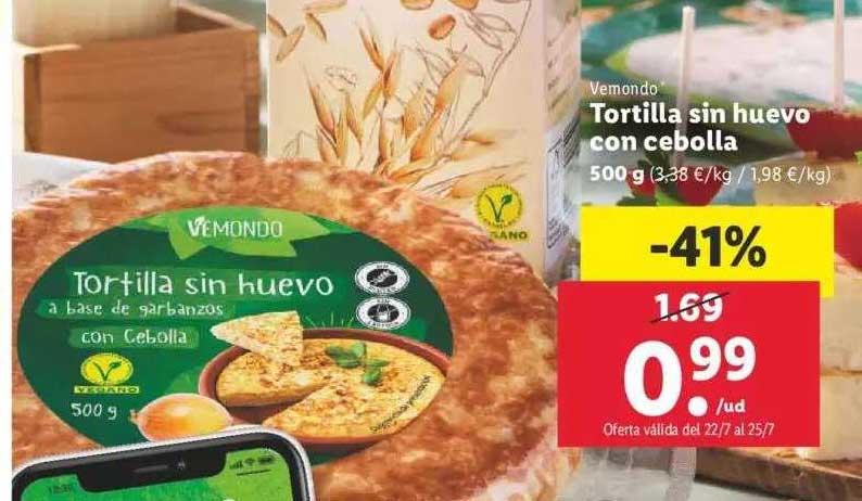 LIDL Vemondo Tortilla Sin Huevo Con Cebolla