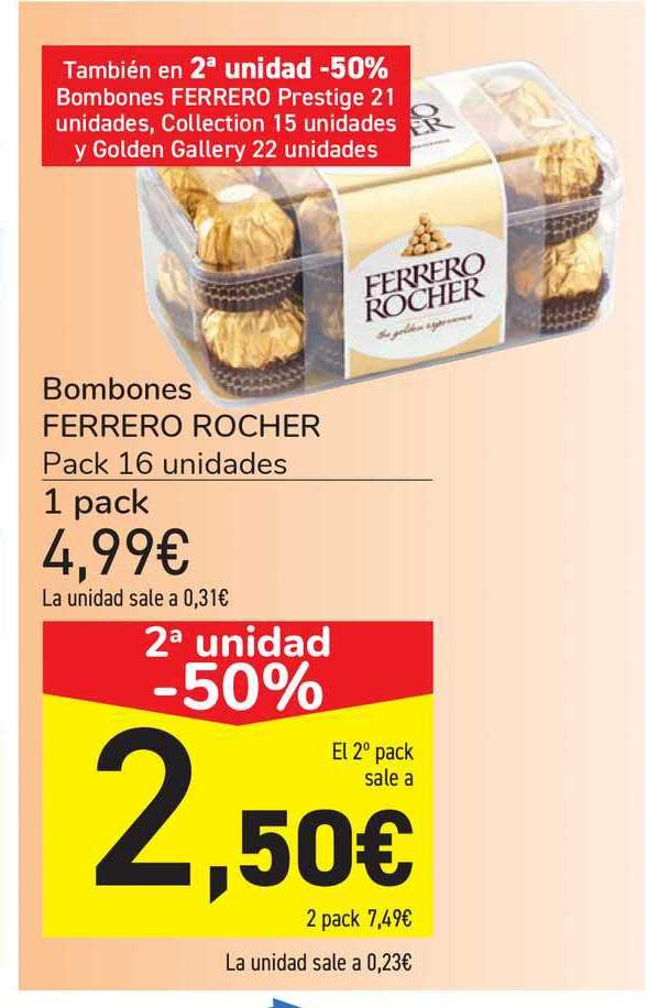 Carrefour 2ª Unidad -50% Bombones Ferrero Rocher Pack 16 Unidades