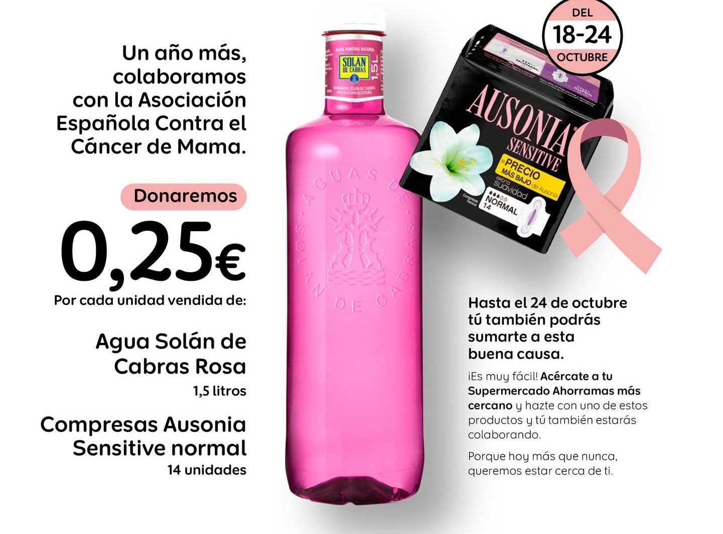 AhorraMas Agua Solán De Cabras Rosa Compresas Ausonia Sensitive Normal