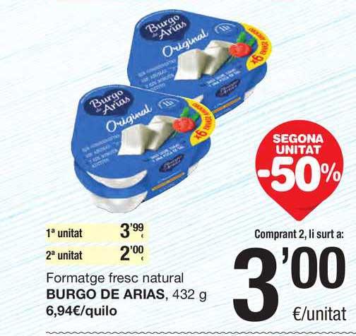 SPAR Fragadis Secona Unitat -50% Formatge Fresc Natural Burgo De Arias