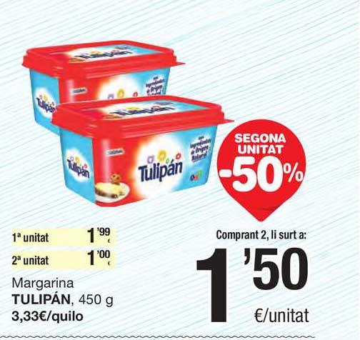 SPAR Fragadis Secona Unitat -50% Margarina Tulipán