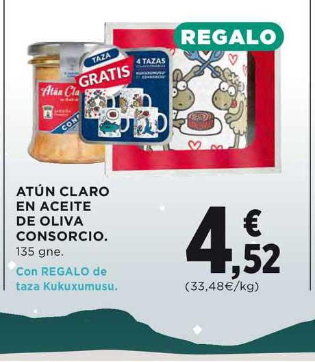 Hipercor Atún Claro En Aceite De Oliva Consorcio 135 Gne. Con Regalo De Taza Kukuxumusu
