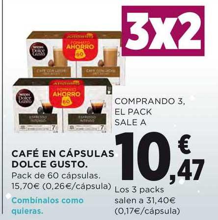 Hipercor 3x2 Café En Cápsulas Dolce Gusto