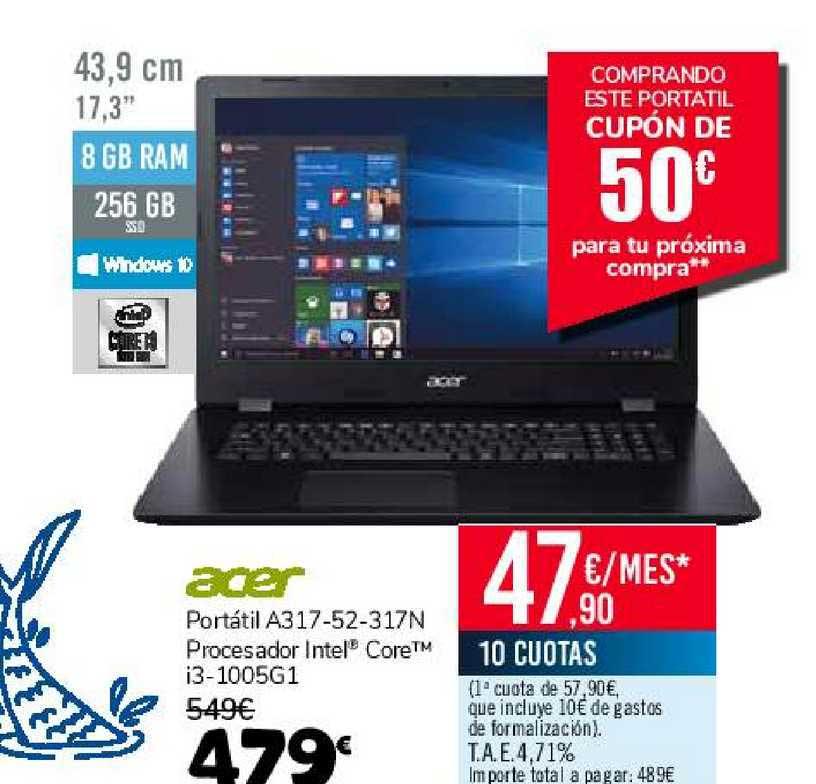 Carrefour Acer Portátil A317-52-317n Procesador Intel Core I3-1005g1