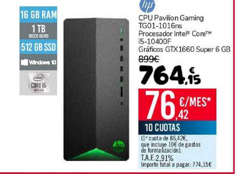 Carrefour Hp Cpu Pavilion Gaming Tg01-1016ns Procesador Intel Core I5-10400f Gráficos Gtx 1660 Super 6 Gb