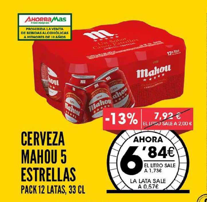 AhorraMas -13% Cerveza Mahou 5 Estrellas Pack 12 Latas, 33 Cl