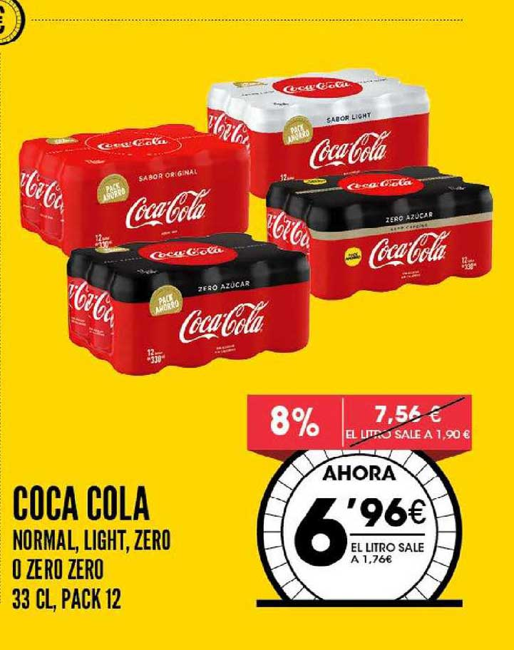 AhorraMas 8% Coca Cola Normal, Light, Zero O Zero Zero 33 Cl, Pack 12
