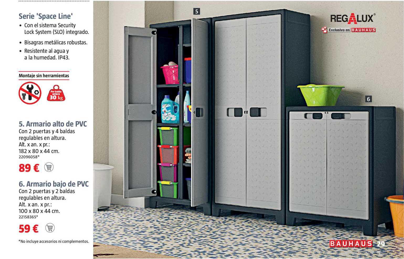 BAUHAUS Regalux Serie Space Line Armario Alto De PVC ∕ Armario Bajo De PVC