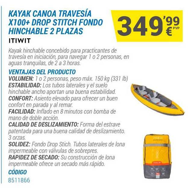 Decathlon Kayak Canoa Travesía X100+ Drop Stitch Fondo Hinchable 2 Plazas Itiwit
