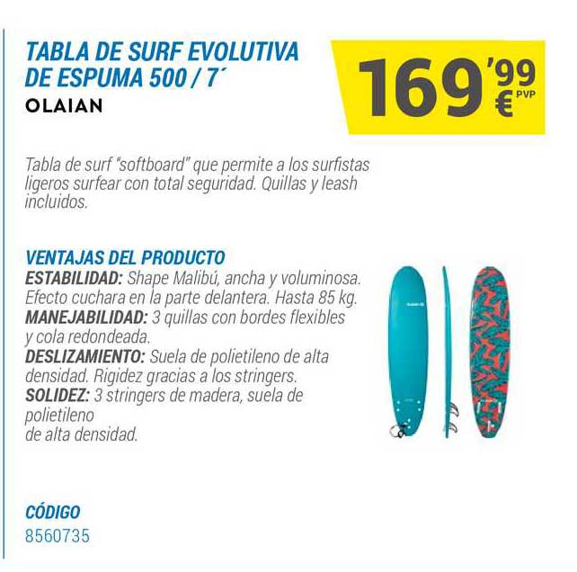 Decathlon Tabla De Surf Evolutiva De Espuma 500 7' Olaian