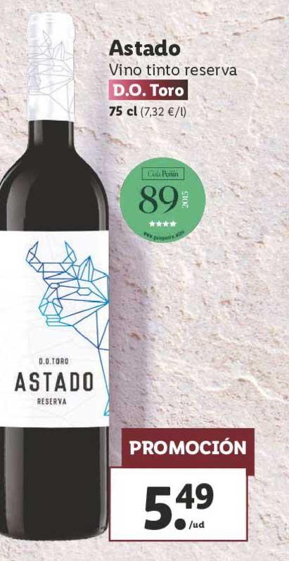 LIDL Astado Vino Tinto Reserva D.O. Toro 75 Cl