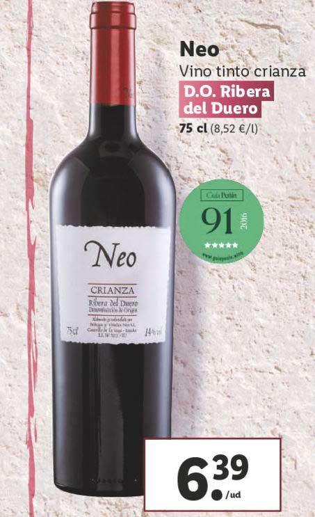 LIDL Neo Vino Tinto Crianza D.O. Ribera Del Duero 75 Cl