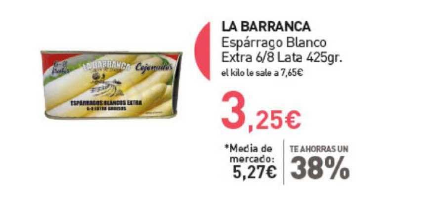 Primaprix Te Ahorras Un 38% La Barranca Espárrago Blanco Extra 6 ∕ 8 Lata 425gr.