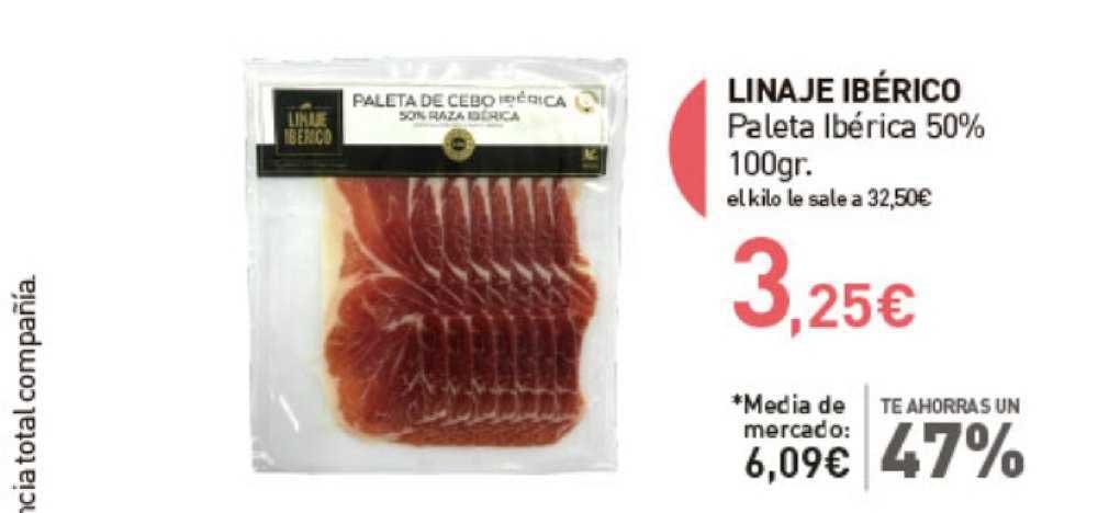 Primaprix Te Ahorras Un 47% Linaje Ibérico Paleta Ibérica 50% 100gr.