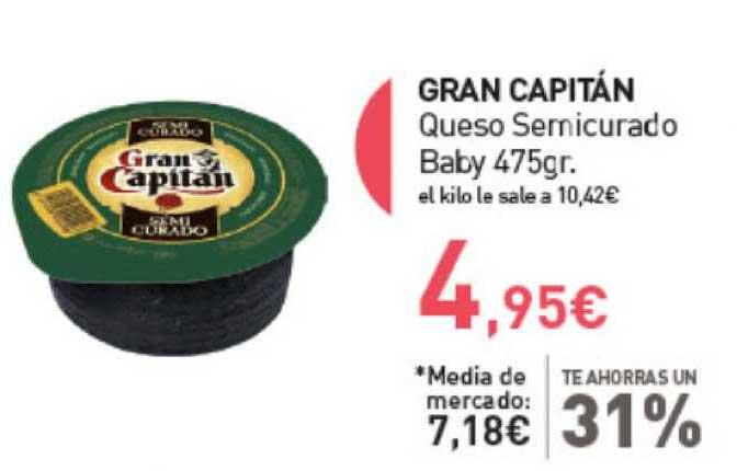 Primaprix Te Ahorras Un 31% Gran Capitán Queso Semicurado Baby 475gr.